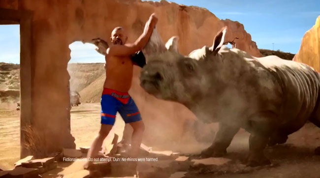 Commercial disclaimers 2014 Duralast brakes commercial UFC fighter Chuck Liddell The Iceman throws rhino