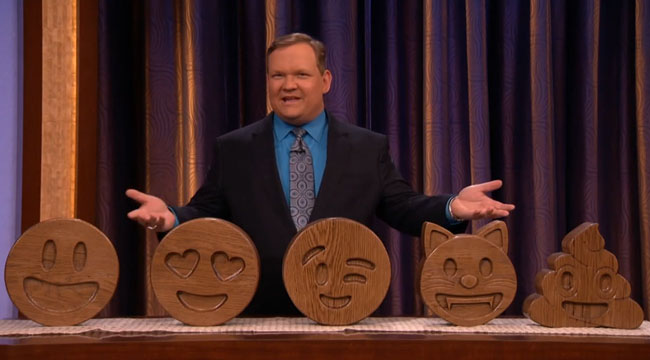 Conan sells Nick Offerman solid wood emojis for charity Andy Richter