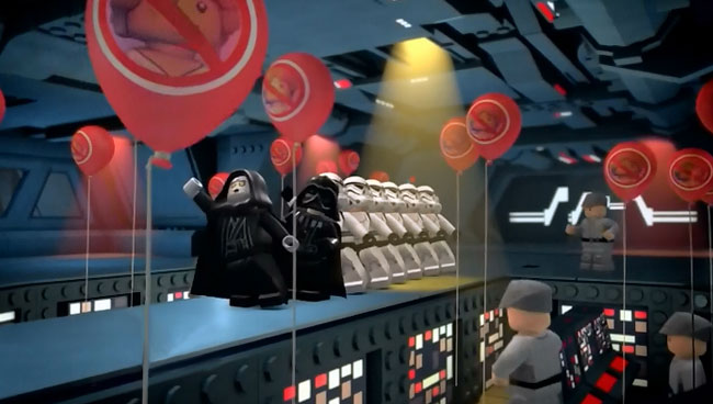 Lego Star Wars The Yoda Chronicles Clash of the Skywalkers alternate ending Emperor Darth Vader conga line