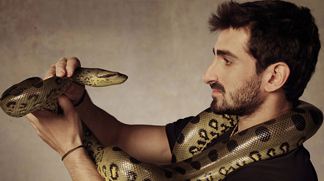 Paul Rosolie suits up to be Eaten Alive by snake Discovery Channel staring contest
