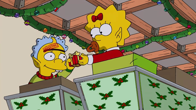 Simpsons Christmas episode I Wont Be Home for Christmas Maggie Baby Gerald Monobrow Unibrow Baby