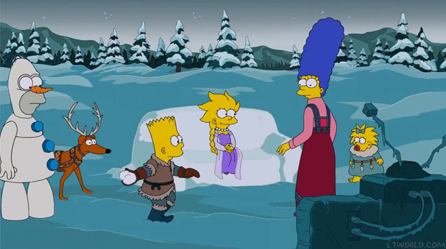 Simpsons couch gag parodies Frozen for Christmas episode I Wont Be Home for Christmas