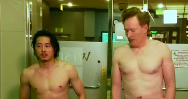 Conan O'Brien and Steven Yeun visit nude spa