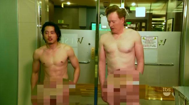 Conan O'Brien and Steven Yeun visit nude spa