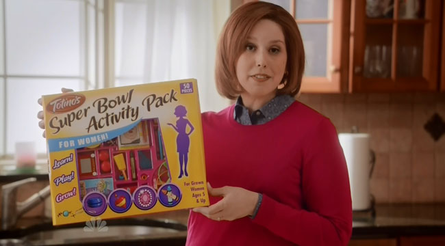SNL commercial Super Bowl Activity Pack for women Vanessa Bayer and J.K. Simmons