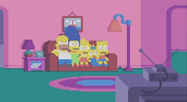 Simpsons couch gag features pixel art opening