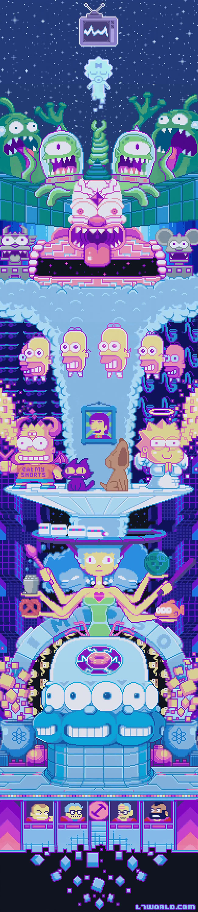 Simpsons couch gag features pixel art opening Paul Robertson