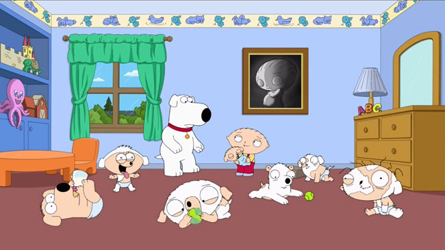 Family Guy Stewie pregnant with Brian children litter (Stewie is Enceinte)