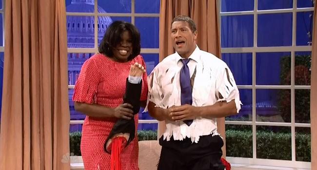 SNL Barack Obama Michelle Obama The Rock Obama Dwayne Johnson Leslie Jones