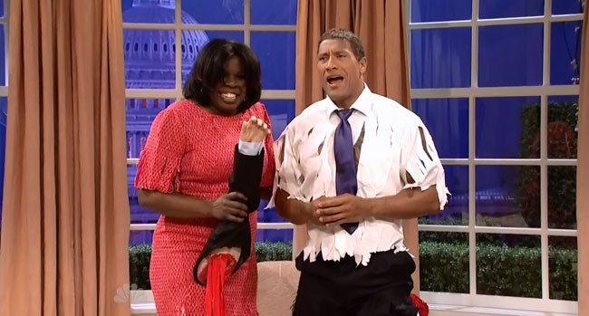 SNL Barack Obama Michelle Obama The Rock Obama Dwayne Johnson Leslie Jones