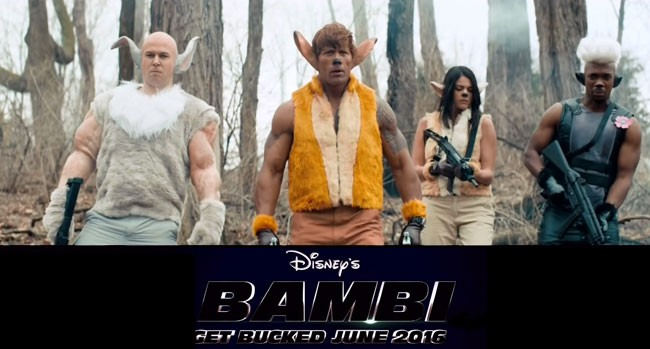 SNL Disney Bambi Dwayne Johnson Taran Killam Cecily Strong Jay Pharoah