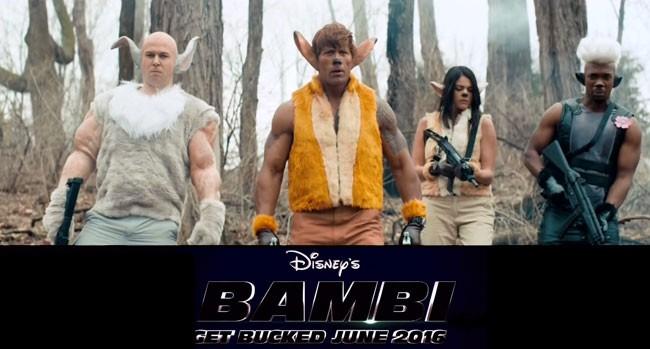 SNL Disney Bambi Dwayne Johnson Taran Killam Cecily Strong Jay Pharoah