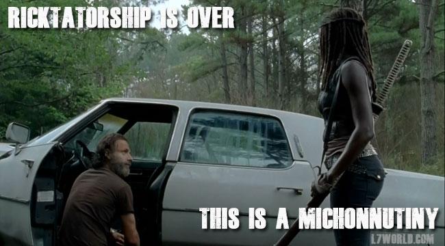 Walking Dead Ricktatorship Rick Michonne Andrew Lincoln Sonequa Martin-Green
