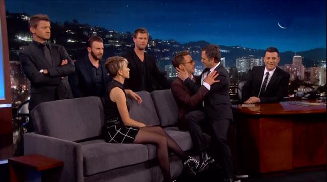 Jimmy Kimmel Avengers Age of Ultron gay yaoi art Robert Downey Jr. Mark Ruffalo Chris Hemsworth Chris Evans Scarlett Johansson Jeremy Renner