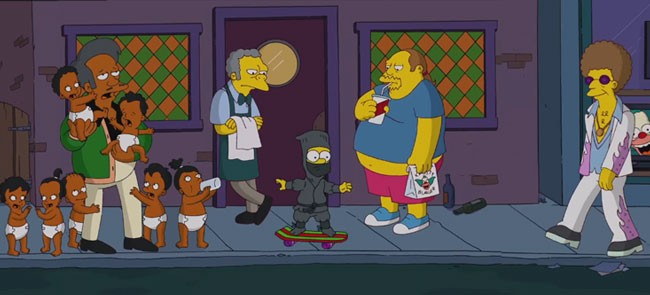 Simpsons opening ninja Bart skating Peeping Mom Apu Moe Comic Book Guy Disco Stu