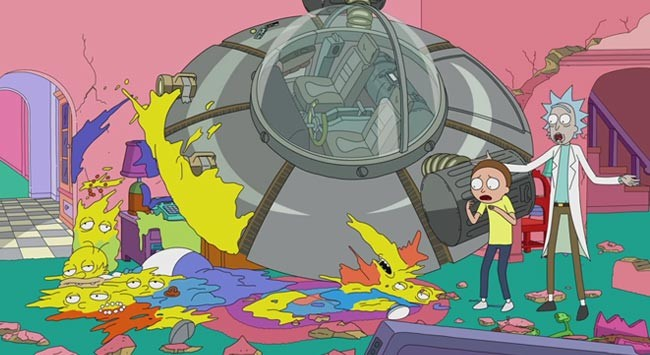 Simpsons couch gag guest stars Rick and Morty