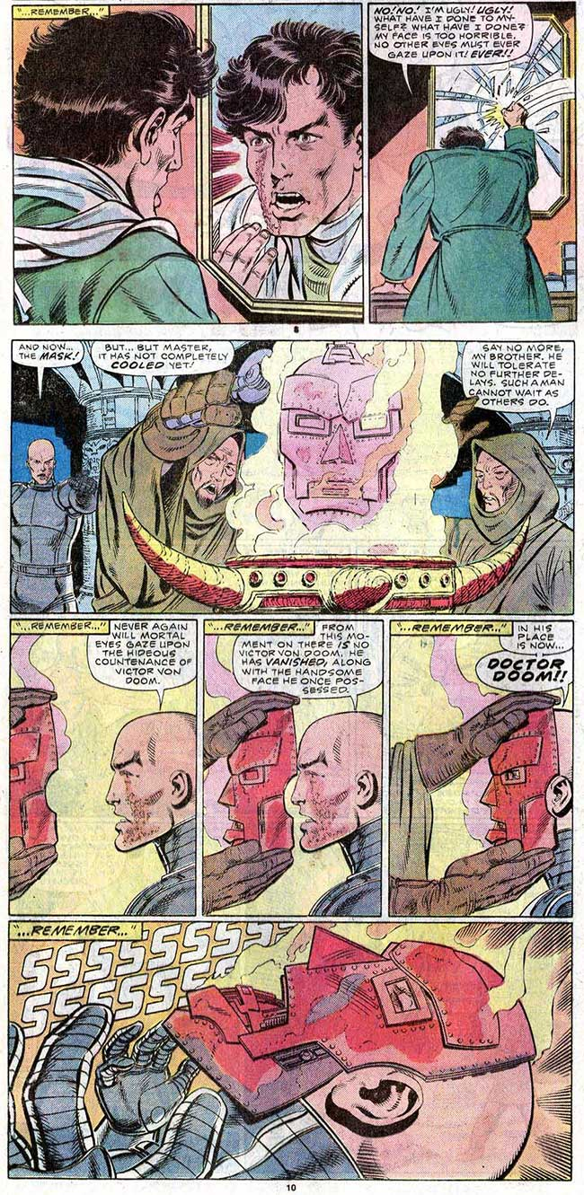 Fantastic Four 278 Doctor Doom face origin John Byrne