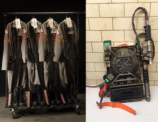 Female Ghostbusters proton pack and uniform flight suit screenwriter Paul Feig