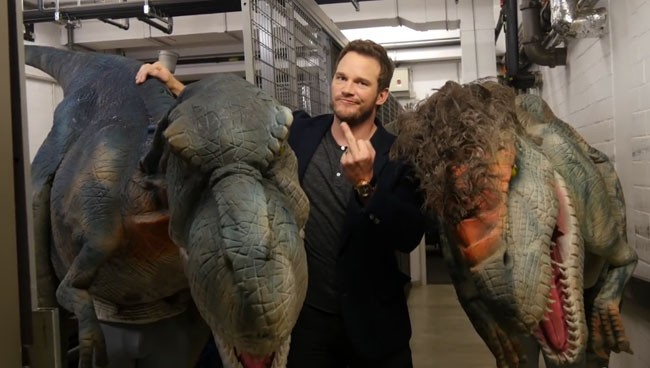 Jurassic World star Chris Pratt dinosaur prank