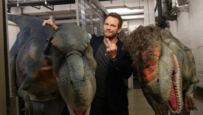 Jurassic World star Chris Pratt dinosaur prank