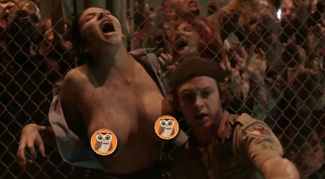 Scouts Guide to the Zombie Apocalypse Zombie breasts and zombie boob David Koechner