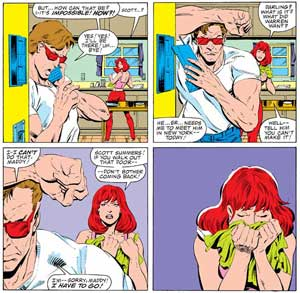 X-Factor 1 Cyclops Scott Summers walks out on Madelyne Pryor Nathan
