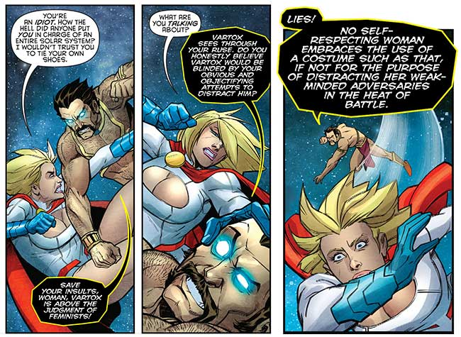 Harley Quinn and Power Girl 3 Vartox boob window sexism