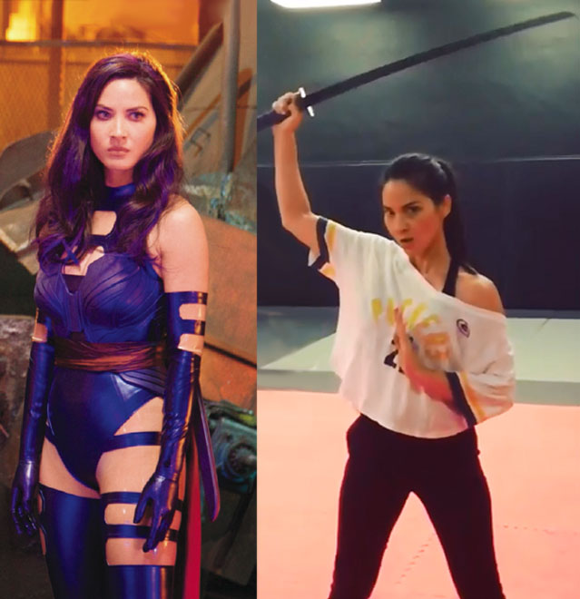 Olivia Munn Psylocke X-Men Apocalypse training sword stunts