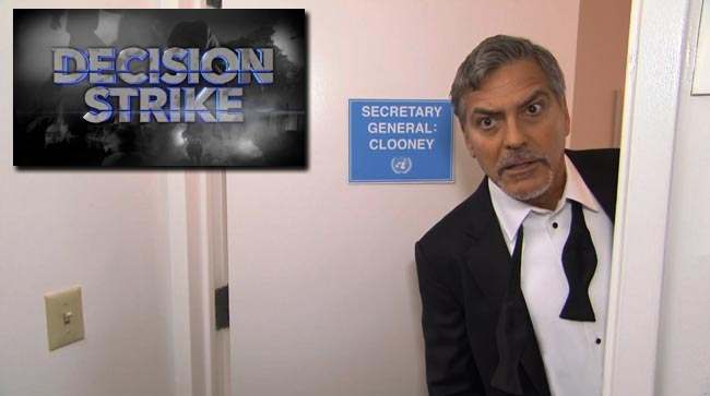 George Clooney fake movie Decision Strike Late Show Stephen Colbert