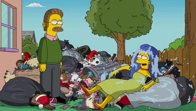 Marge Simpson gets wet for charity Ned Flanders ALS Ice Bucket Challenge