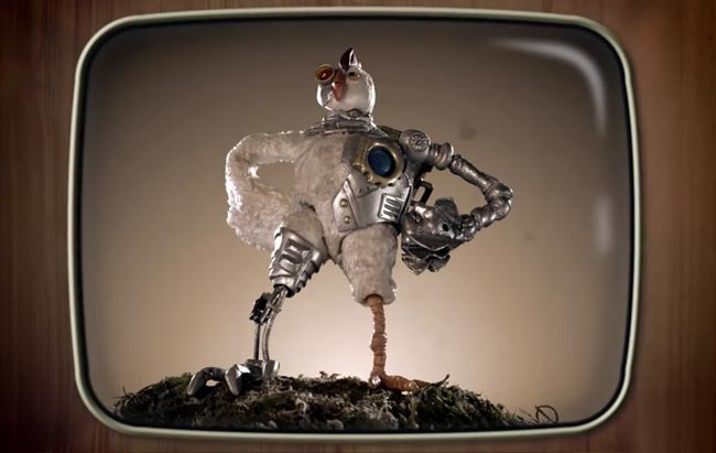 Robot Chicken KFC Colonel Sanders ad secret recipe black and white TV