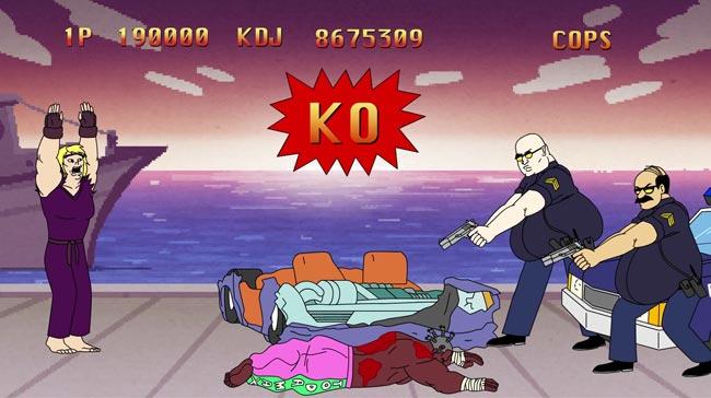 Street Fighter Bonus Stage parody calls cops racist Ken Dee Jay Animation Domination High-Def