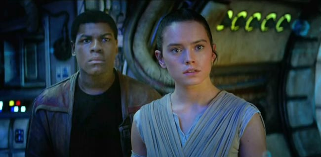Star Wars Force Awakens John Boyega as Finn and Daisy Ridley as Rey