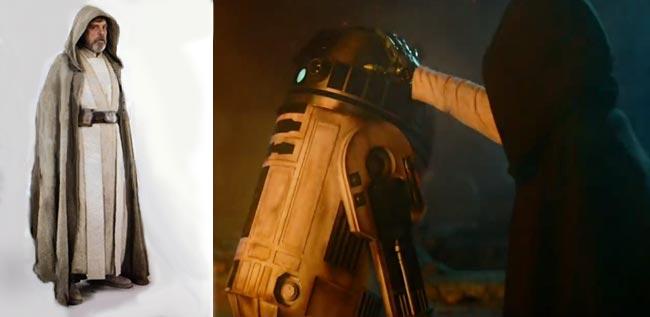 Star Wars Force Awakens R2-D2 Mark Hamill Luke Skywalker hand