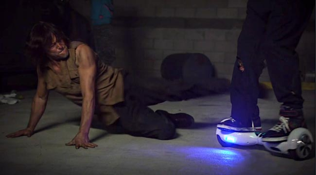Walking Dead Norman Reedus faces fast zombies hoverboard on Jimmy Kimmel