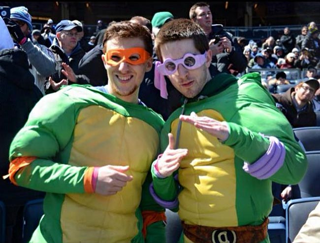 John Oliver Yankees tickets cosplayers TMNT Teenage Mutant Ninja Turtles