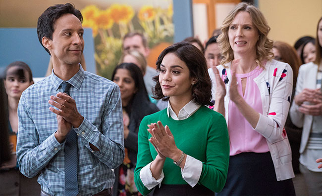DC Comics Powerless Danny Pudi as Teddy Vanessa Hudgens as Emily Locke Christina Kirk as Jackie