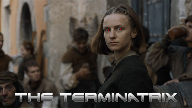 Game of Thrones Arya vs Waif Terminator parody terminatrix Faye Marsay