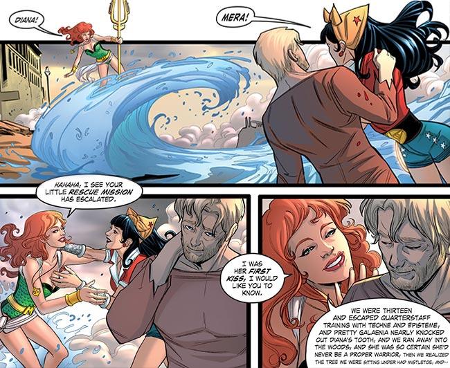 DC Bombshells 32 Steve Trevor Aquawoman Mera Wonder Woman Lesbian kiss