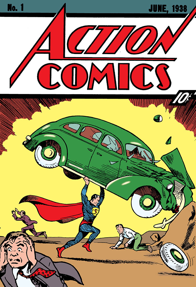 Action Comics 1 cover Superman holding car