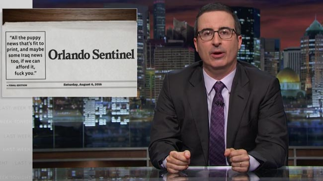 Last Week Tonight with John Oliver print journalism