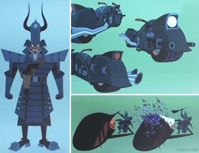 Samurai Jack armor motorcycle gun bug