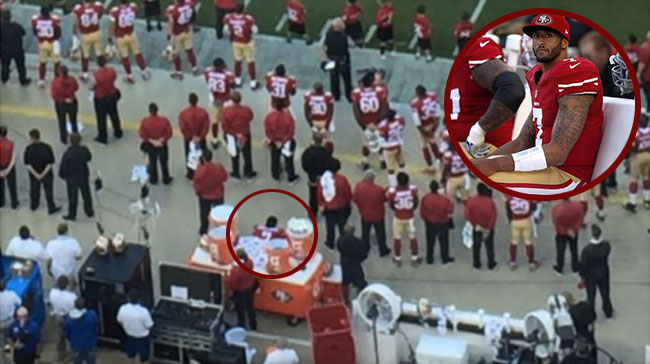 San Francisco 49ers quarterback Colin Kaepernickhad sitting national anthem