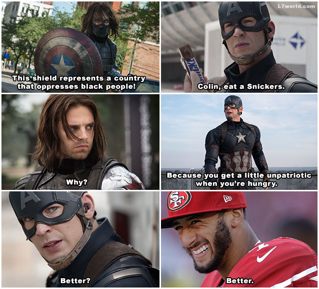 Snickers meme Captain America Civil War Winter Soldier Bucky Colin Kaepernick