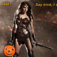 Gal Gadot Wonder Woman Halloween trick or treat