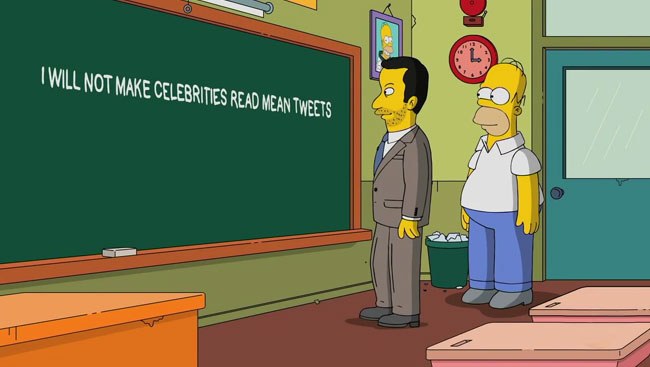 Simpsons chalkboard Jimmy Kimmel Homer mean tweets
