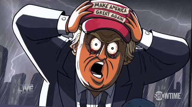 Donald Trump cartoon parody Stephen Colbert