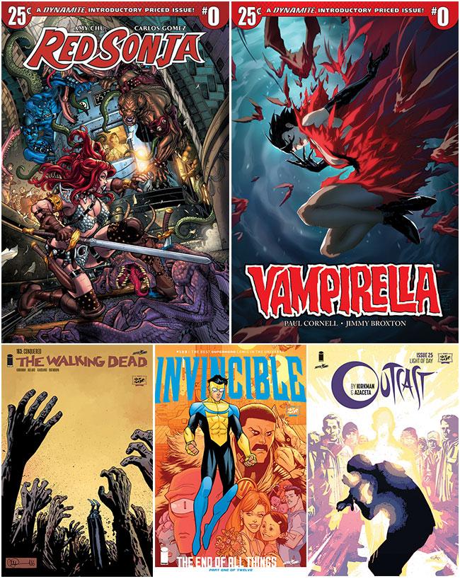 25 cents comics Walking Dead Outcast Invincible Vampirella Red Sonja