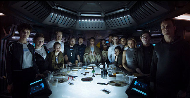 Alien: Covenant Prologue Last Supper  Daniels (Katherine Waterston) Walter  David (Michael Fassbender) Tennessee (Danny McBride)