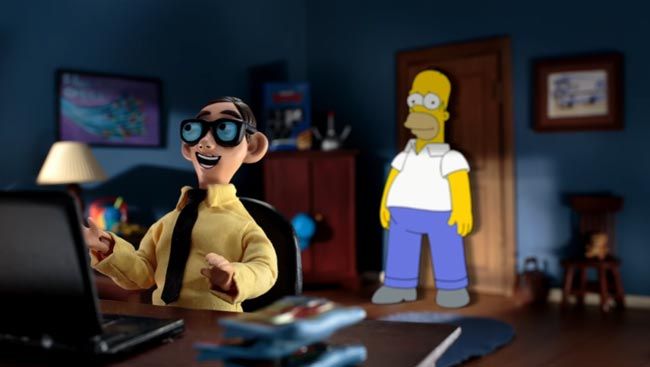 Simpsons couch gag revisits Robot Chicken nerd